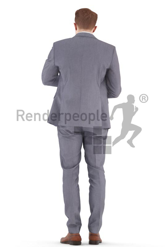 3d people business, young man standing looking on his watch
