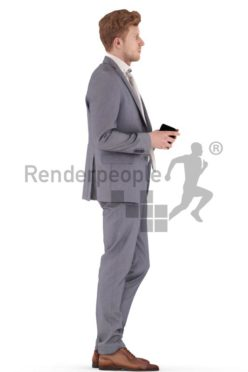 3d people business, young man standing with a cup