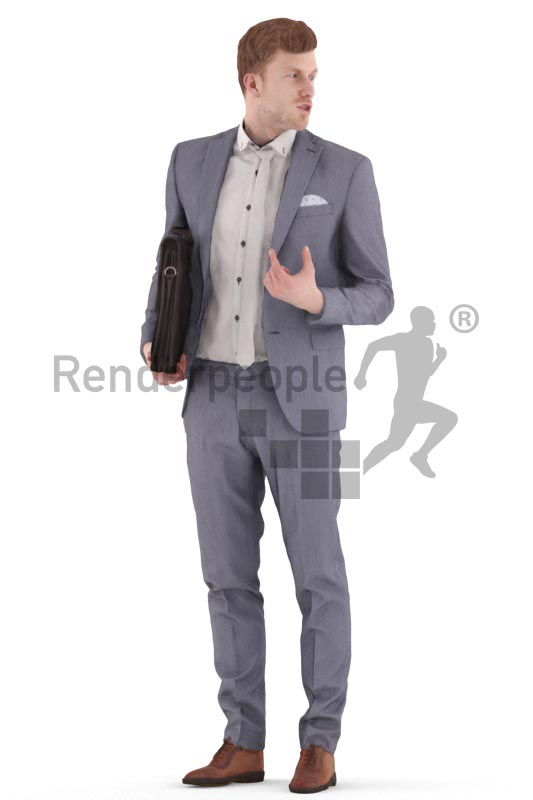 3d people business, young man standing with a briefcase