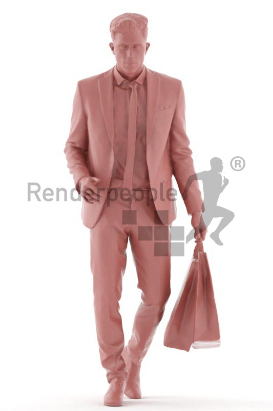 3d people business, young man walking with shopping bags
