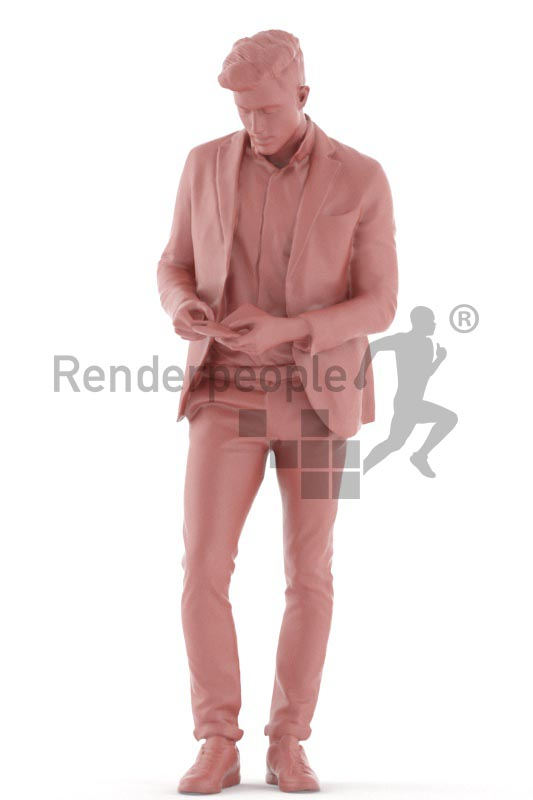 3d people business, young man standing searching in his wallet