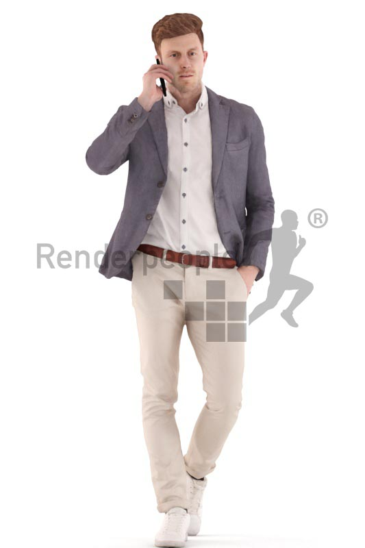 3d people business, young man walking and calling