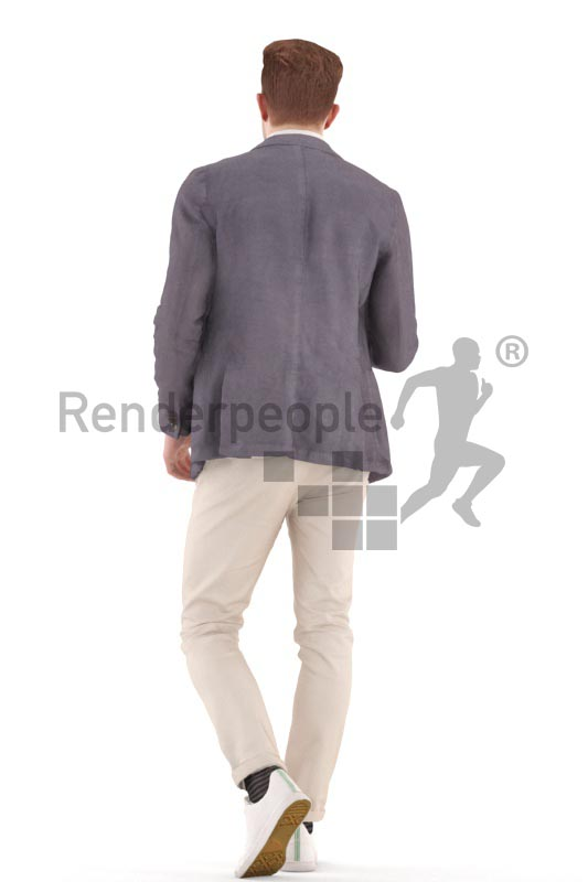 3d people business, young man walking with a glas