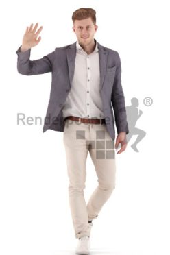 3d people business, young man walking and waving