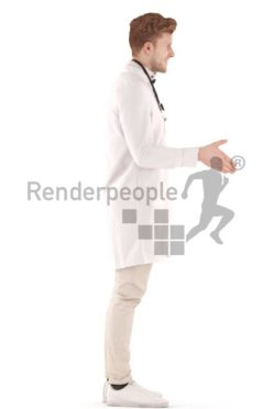 3d people doctor, young man standing and shaking hand