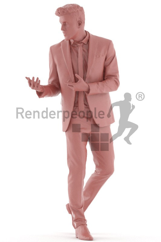 3d people business, young man walking and talking
