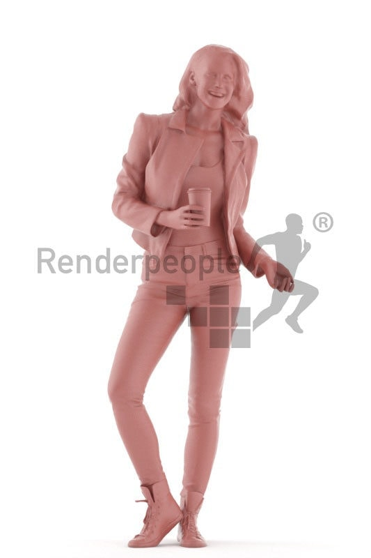 3d people casual, white 3d woman talking and holding cup