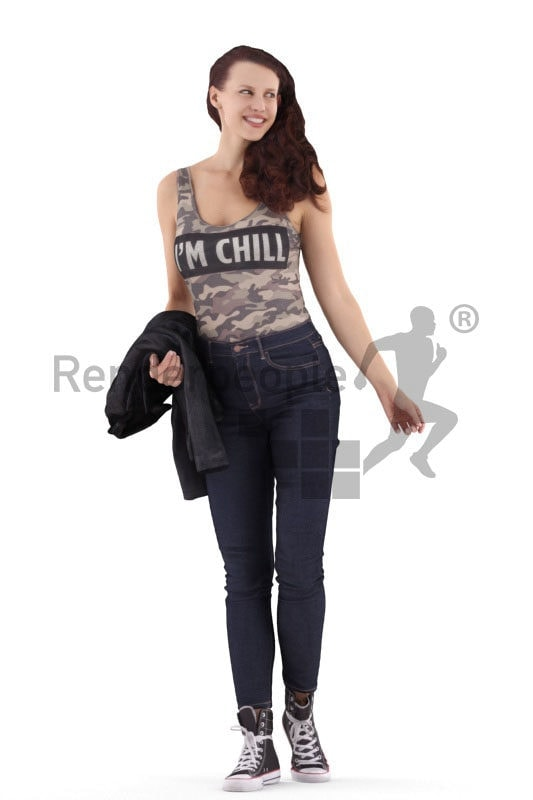 3d people casual, white 3d woman standing and smiling