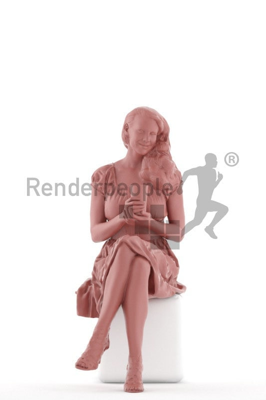 3d people event, white 3d woman sitting and smiling