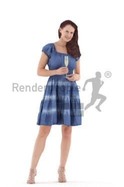 3D People model for 3ds Max and Blender - european woman in event look, standing with a champagne glass