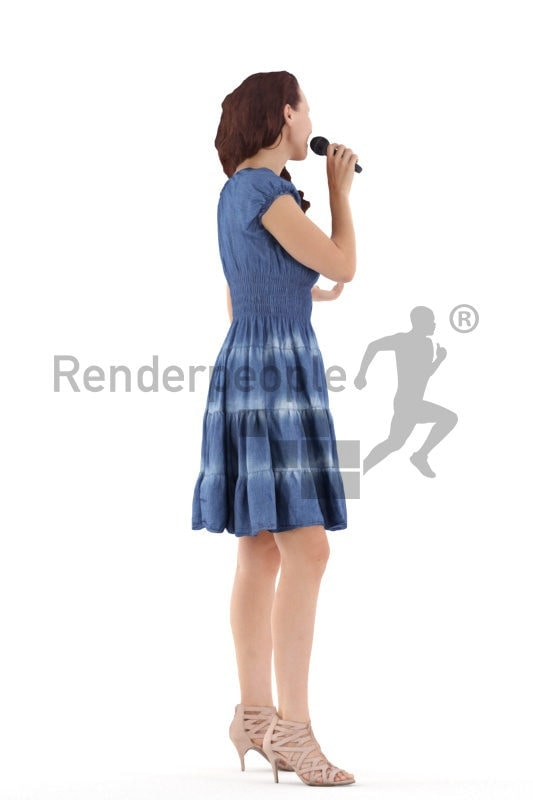 Posed 3D People model by Renderpeople – european female in event dress, singing/moderating