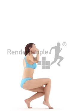 3d people swimwear, white 3d woman smiling and waving