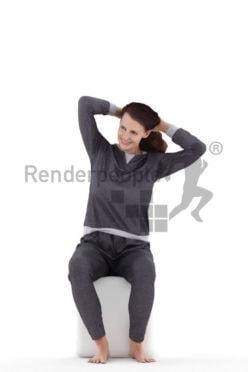 3d people sleepwear, white 3d woman sitting