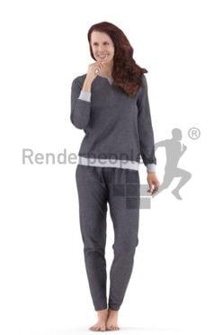 3d people sleepwear, standing 3d woman brushing her teeth