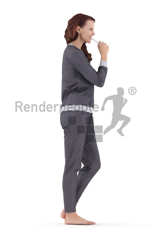 3d people sleepwear, standing 3d woman brushing her teeth