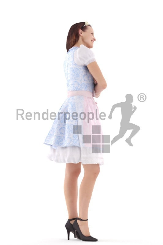 3d people bavaria, standing oktoberfest 3d woman smiling