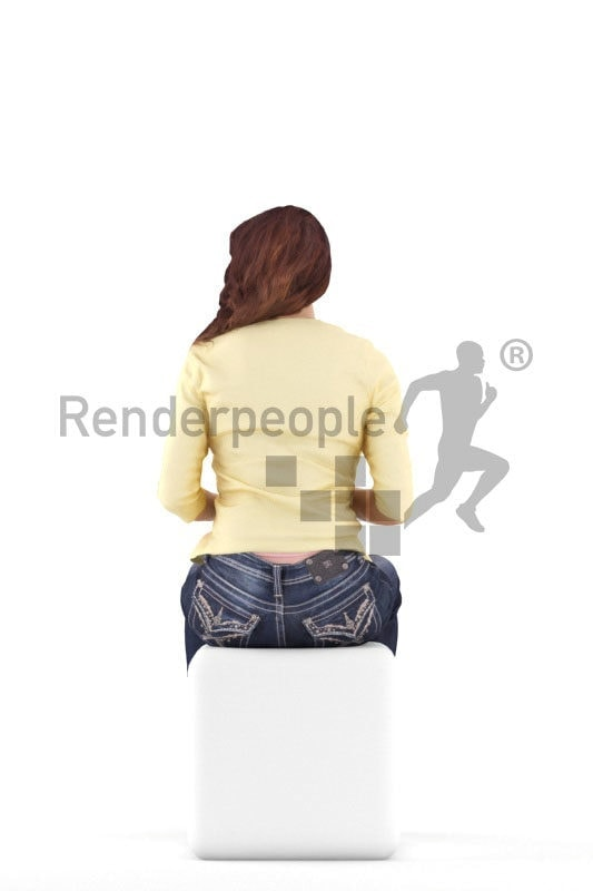 3d people casual, white 3d woman sitting and drinking coffee