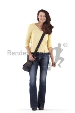 3d people casual, white 3d woman standing and carrying