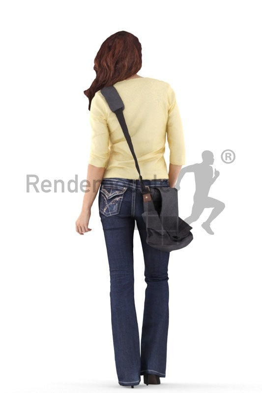 3d people casual, white 3d woman standing and carrying bag