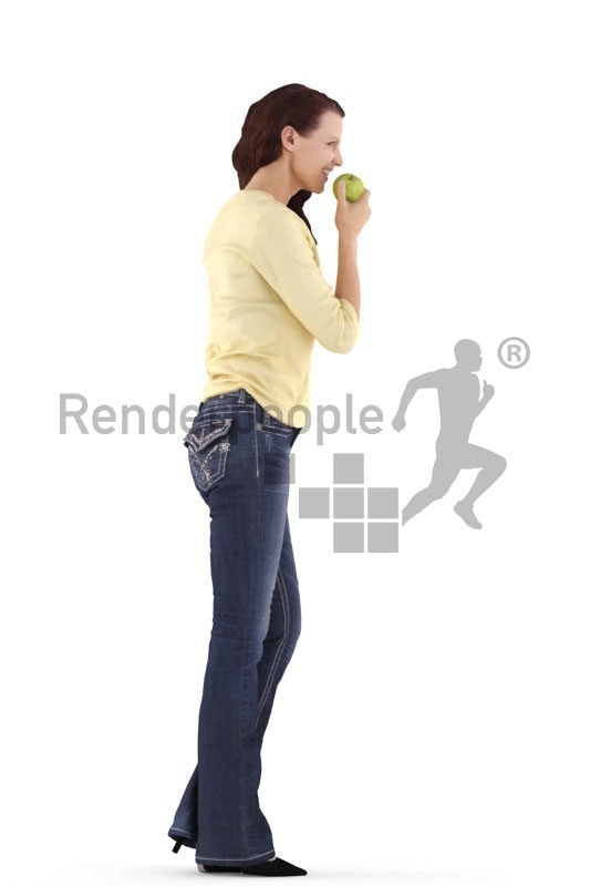 3d people casual, white 3d woman standing and eating apple