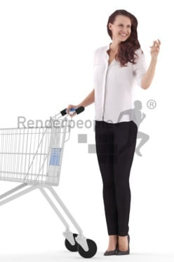 3d people business, white 3d woman shopping with cart