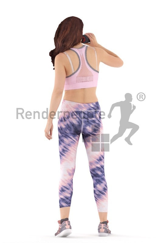 Realistic 3D People model by Renderpeople – white female in gym wear, standing and drinking