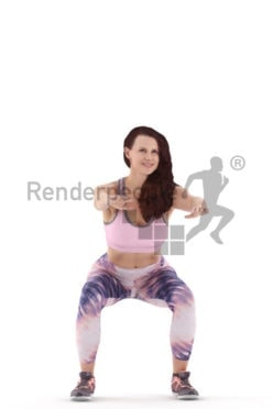 3d people sports, white 3d woman d