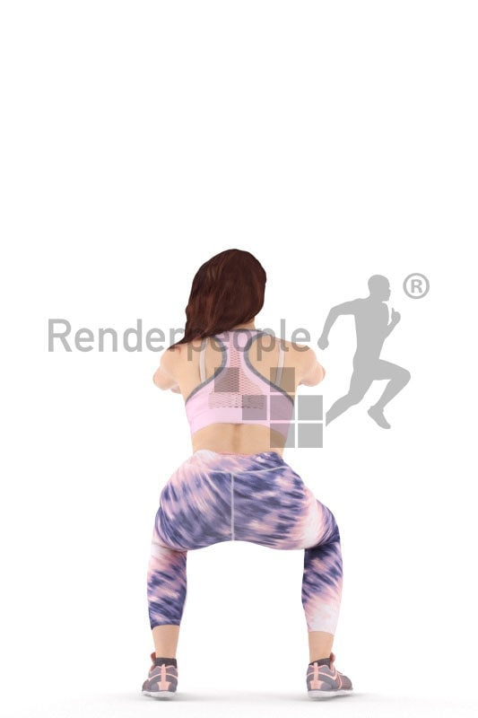 3d people sports, white 3d woman doing knee bends
