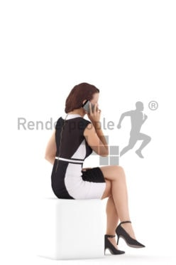 Photorealistic 3D People model by Renderpeople – european woman in a chic event look, sitting and calling