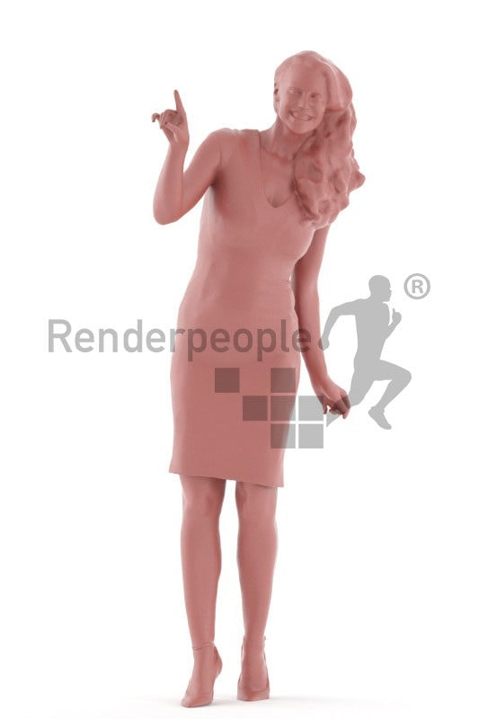 3d people event, white 3d woman standing and pointing