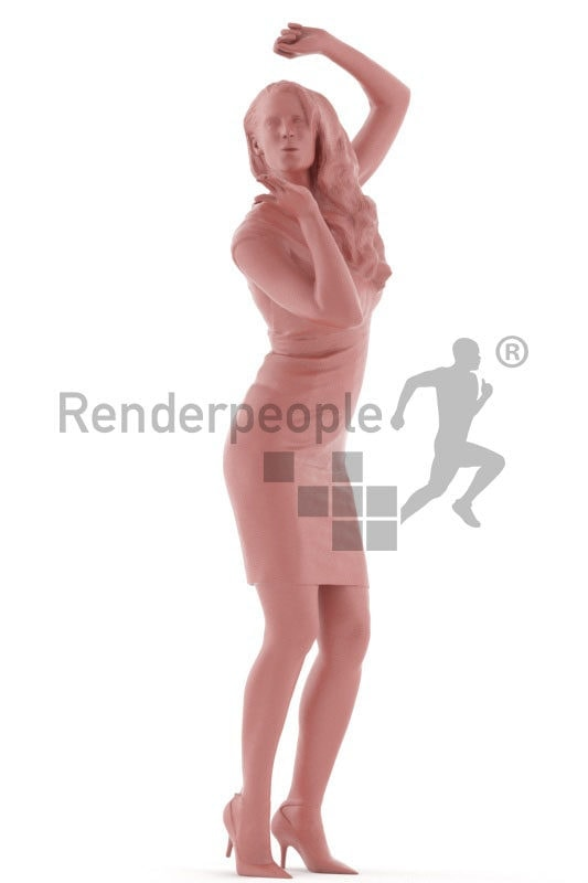 3d people event, white 3d woman standing throwing a kiss