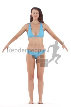 3d people swimwear, rigged woman in A Pose