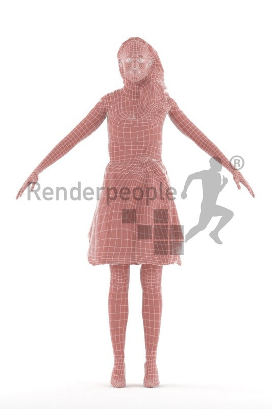 Rigged 3D People model for Maya and Cinema 4D – white woman in traditional costume, dirndl