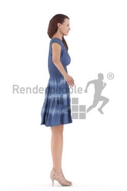 Rigged human 3D model by Renderpeople – european woman in a casual summer dress