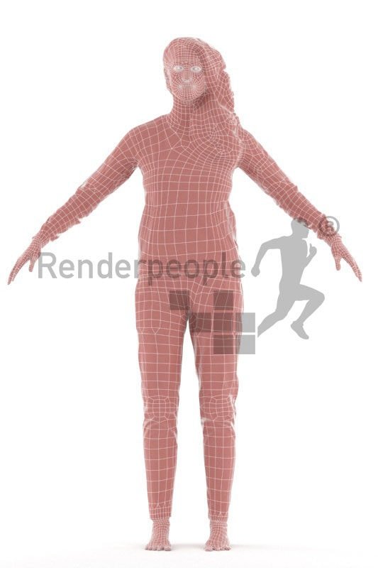 3d people sleepwear, white rigged woman in A Pose
