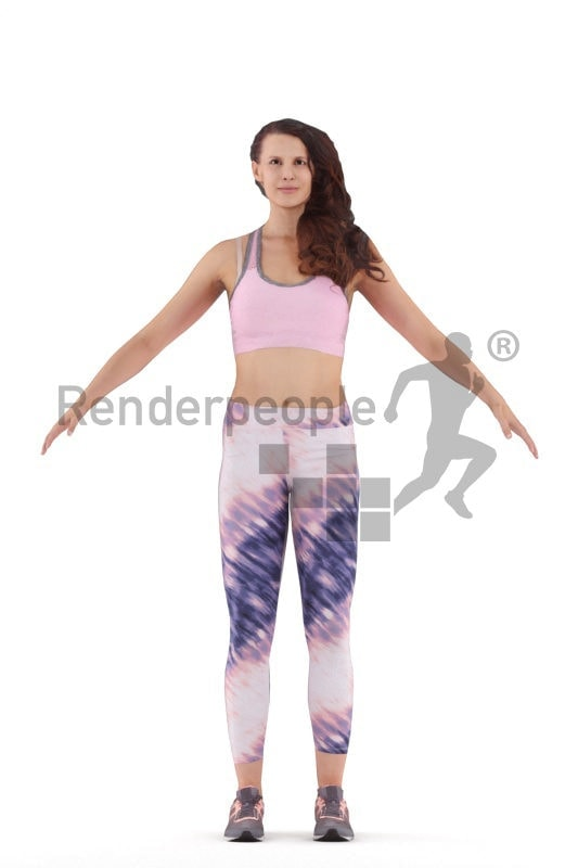 3d people sports, 3d white woman rigged