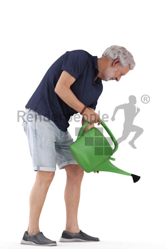 3D People model for 3ds Max and Sketch Up – elderly white man in casual shorts, watering with a watering can