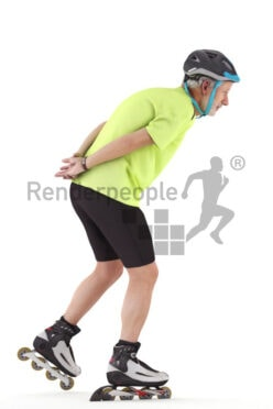 Scanned human 3D model by Renderpeople – elderly white man in sports outfit, wearing a helmet, on inline skates