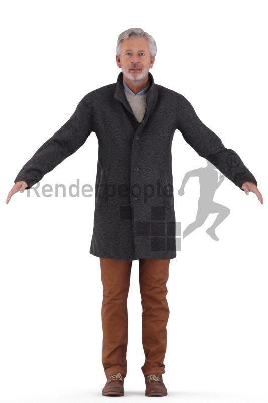 Rigged human 3D model by Renderpeople – elderly white man wearing a coat