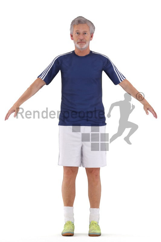 Rigged 3D People model by Renderpeople -elderly white man in sports outfit