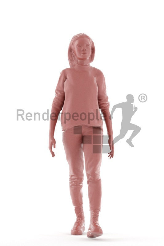 3D People model for animations – black woman in relaxed casual style with boots,walking