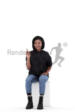 3D People model for 3ds Max and Maya – asian woman in daily clothes, sitting and saluting