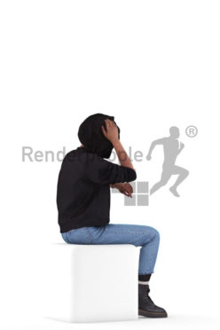 3d people casual, 3d black woman sitting and thinking