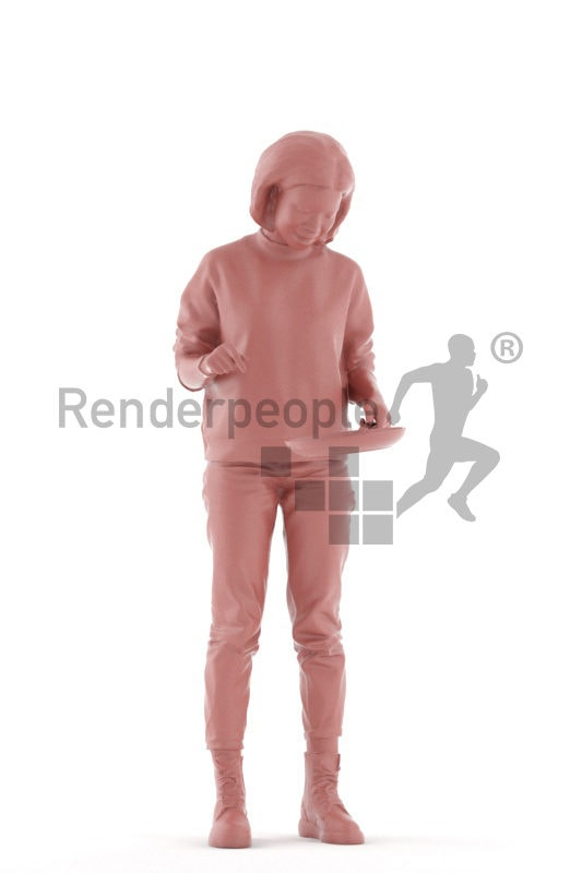 3d people casual, 3d asian woman, standing and cooking