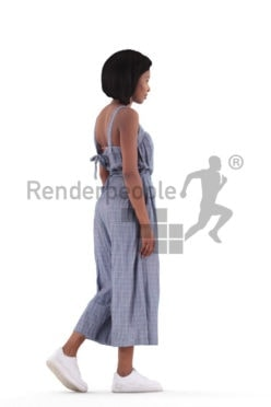 3d people casual, 3d black woman walking