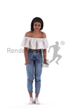 3d people casual, 3d black woman, leaning