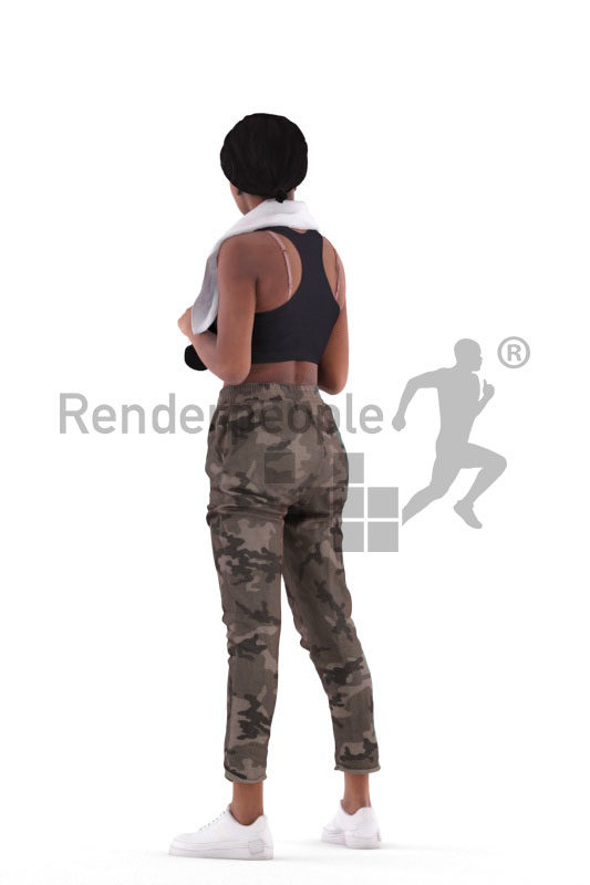 3d people sports, 3d black woman, with towel and bottle
