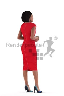 3d people event, 3d black woman, standing