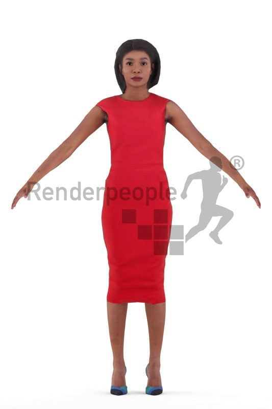 Rigged and retopologized 3D People model – black woman, event dress