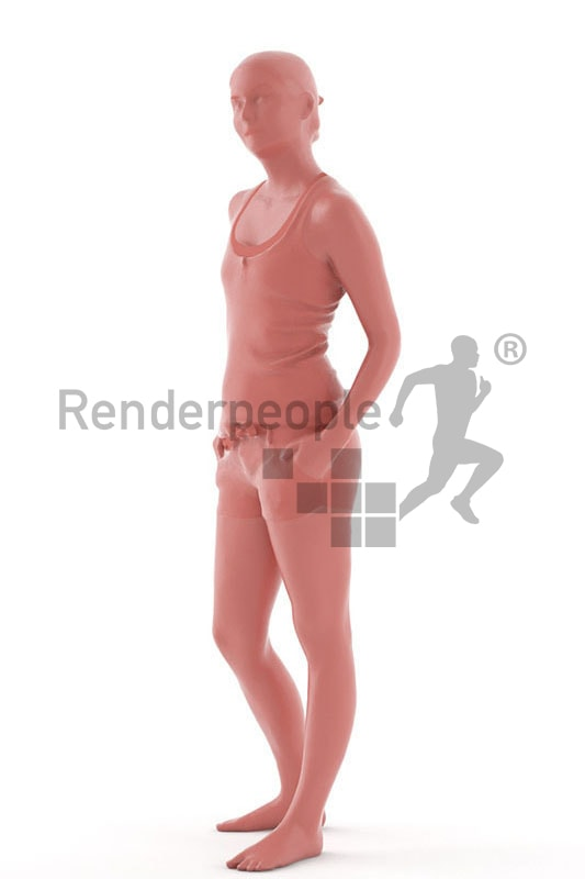 3d people summer, white 3d woman standing